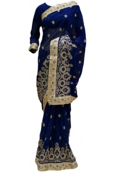RBS20039 Navy Blue and Gold Faux Chiffon Saree
