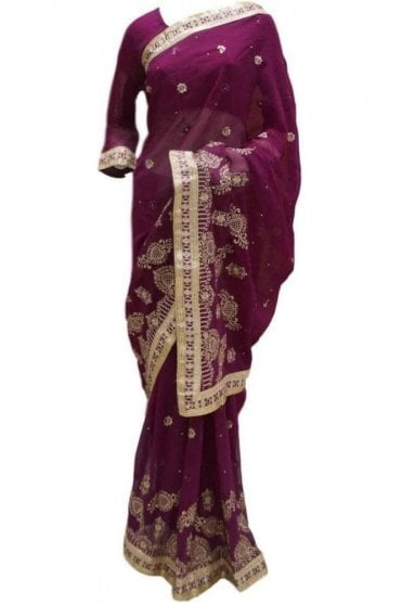 RBS20041 Purple and Gold Faux Chiffon Saree
