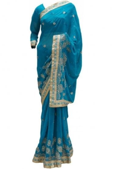 RBS20042 Turquoise Blue and Gold Faux Chiffon Saree