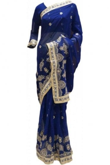 RBS20044 Navy Blue and Gold Faux Chiffon Saree