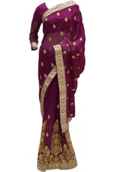 RBS20047 Purple and Gold Faux Chiffon Saree