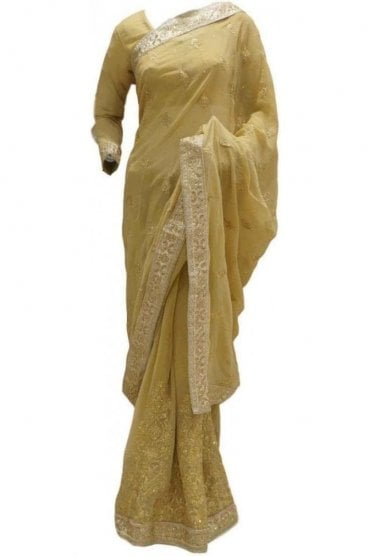 RBS20048 Beige and Gold Faux Chiffon Saree