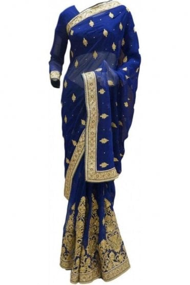 RBS20051 Navy Blue and Gold Faux Chiffon Saree