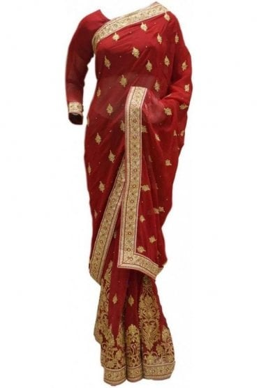 RBS20053 Maroon and Gold Faux Chiffon Saree