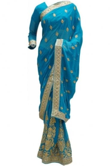 RBS20054 Turquoise Blue and Gold Faux Chiffon Saree