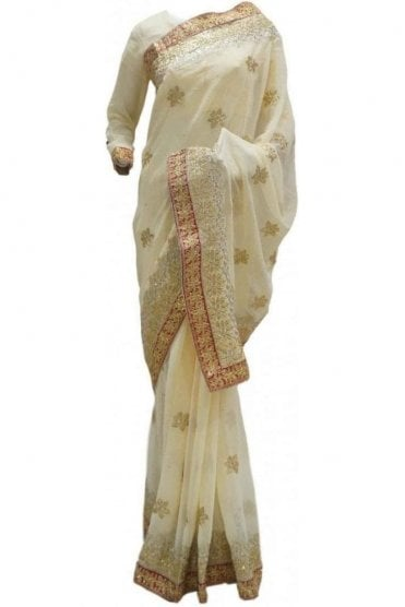 RBS20056 Cream and Maroon Faux Chiffon Saree