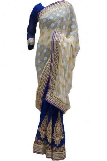 RBS20057 White and Navy Blue Faux Chiffon Saree
