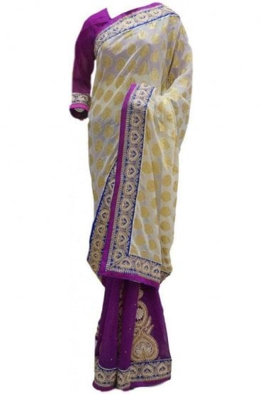RBS20059 White and Purple Faux Chiffon Saree