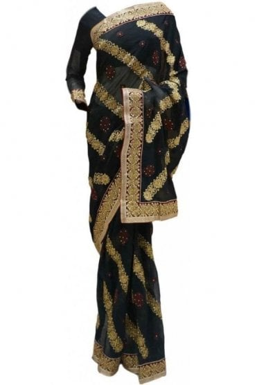 RBS20061 Black and Maroon Faux Chiffon and Velvet Saree