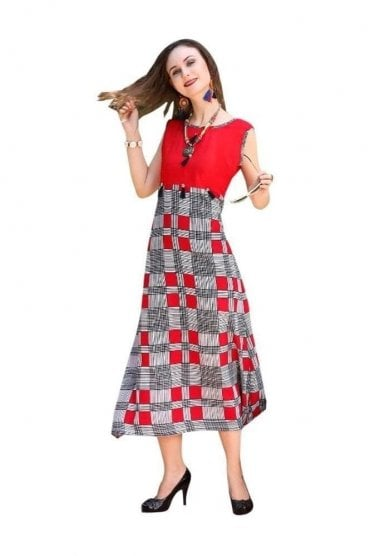 KUR19008 Elegant  Red and Black Elegant  Designer Kurti Tunic Dress