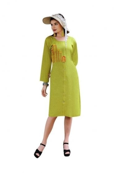 KUR19020 Elegant  Green and Red Elegant Designer Kurti Tunic Dress