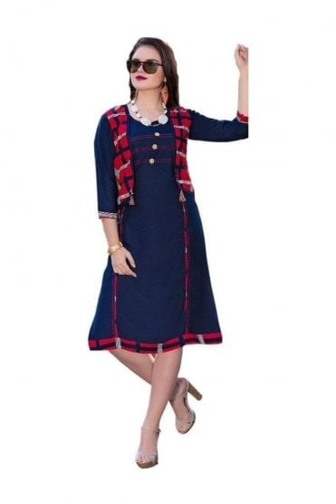 KUR19030 Beautiful Blue and Red Beautiful Designer Kurti Tunic Dress with Printed Waistcoat