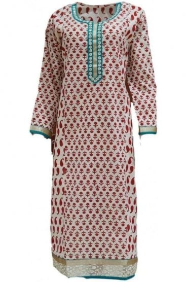KUR19071 Stunning Cream and Red Stunning Designer Kurti Tunic Top Dress