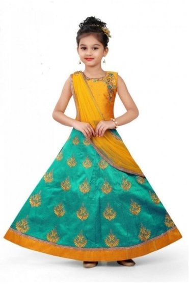 GLC19138 Yellow and Jade Green Girl's Lengha Choli