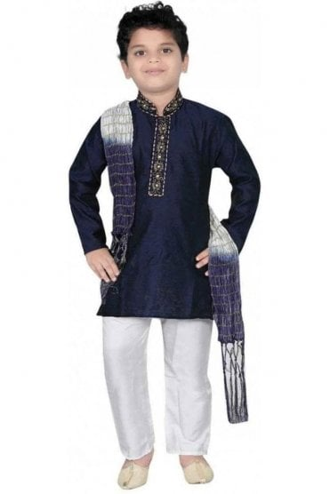 BYK20001 Navy Blue and Ivory 3 Piece Boy's Kurta Pyjama with matching Scarf
