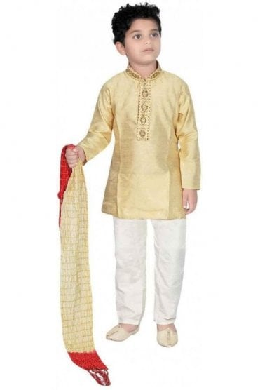 BYK20002 Golden Beige and Ivory 3 Piece Boy's Kurta Pyjama with matching Scarf