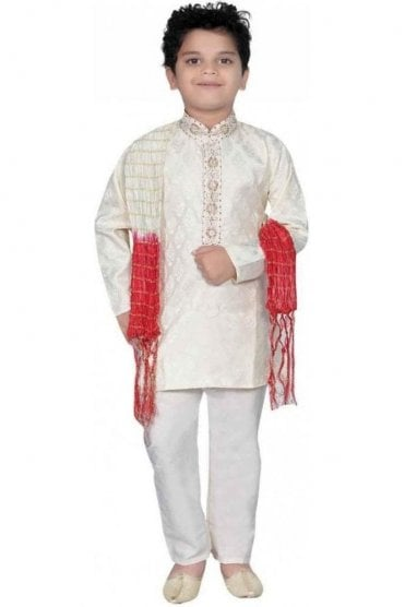 BYK20003 Ivory and Gold 3 Piece Boy's Kurta Pyjama with matching Scarf