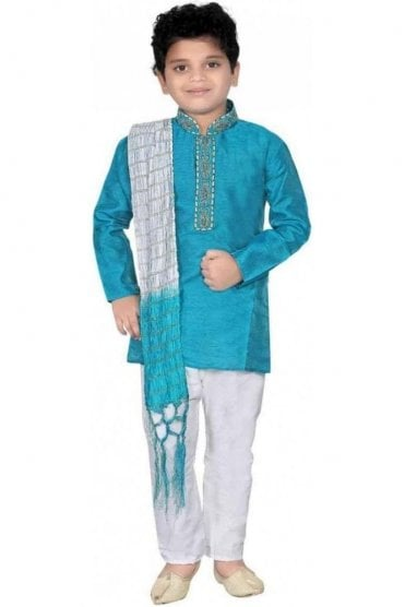 BYK20004 Turquoise Blue and Ivory 3 Piece Boy's Kurta Pyjama with matching Scarf