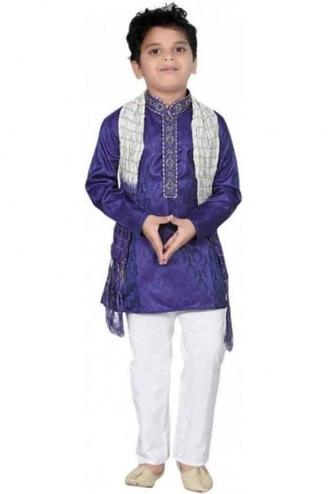 BYK20005 Blue and Ivory 3 Piece Boy's Kurta Pyjama with matching Scarf