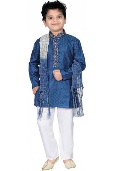 BYK20006 Blue and Ivory 3 Piece Boy's Kurta Pyjama with matching Scarf