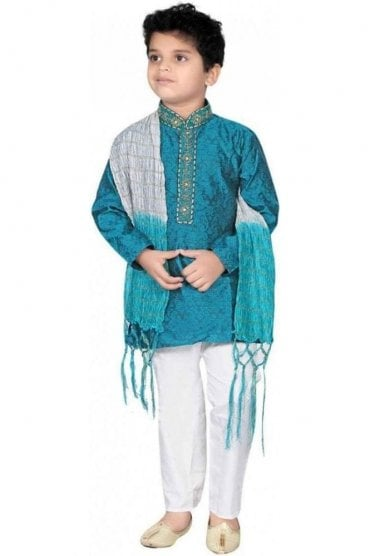 BYK20007 Jade Green and Ivory 3 Piece Boy's Kurta Pyjama with matching Scarf