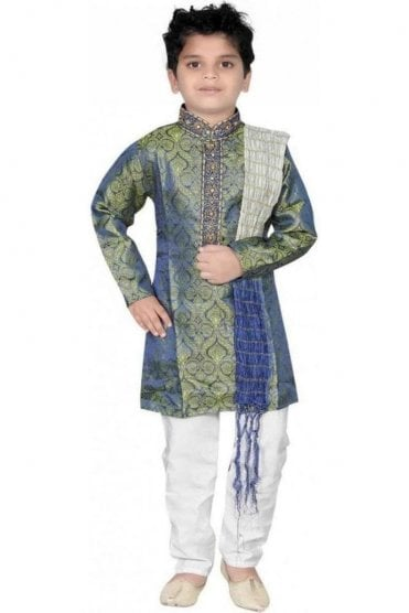 BYK20008 Blue Green and Ivory 3 Piece Boy's Kurta Pyjama with matching Scarf