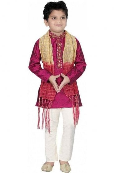 BYK20010 Purple and Ivory 3 Piece Boy's Kurta Pyjama with matching Scarf