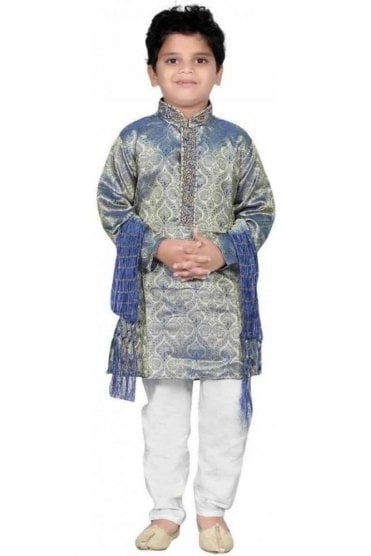 BYK20014 Blue and Ivory 3 Piece Boy's Kurta Pyjama with matching Scarf