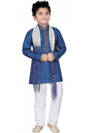 BYK20016 Blue and Ivory 3 Piece Boy's Kurta Pyjama with matching Scarf