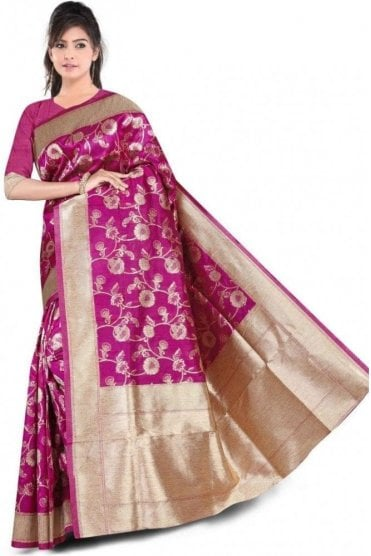 FAS20001 Magenta Pink and Gold Banarasi Silk Party Saree