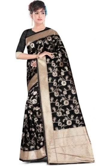 FAS20003 Black and Gold Banarasi Silk Party Saree