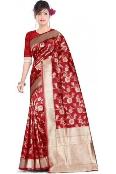 FAS20004 Maroon and Gold Banarasi Silk Party Saree