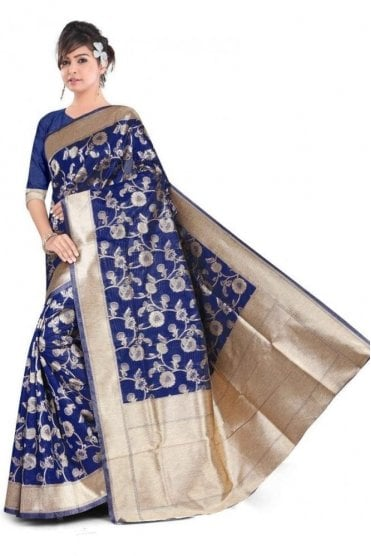 FAS20005 Blue and Gold Banarasi Silk Party Saree