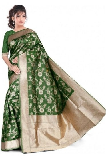 FAS20006 Green and Gold Banarasi Silk Party Saree