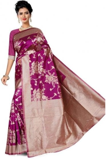 FAS20007 Magenta Pink and Gold Banarasi Silk Party Saree