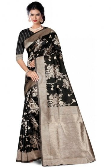 FAS20008 Black and Gold Banarasi Silk Party Saree