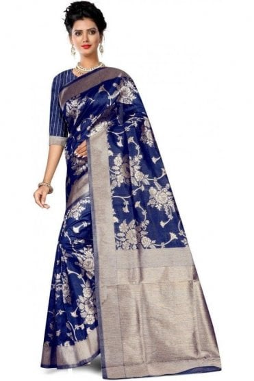 FAS20010 Blue and Gold Banarasi Silk Party Saree