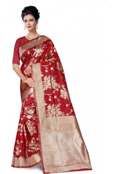 FAS20011 Red  and Gold Banarasi Silk Party Saree