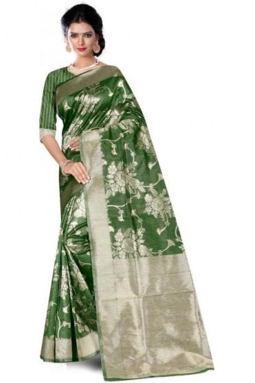 FAS20012 Green and Gold Banarasi Silk Party Saree