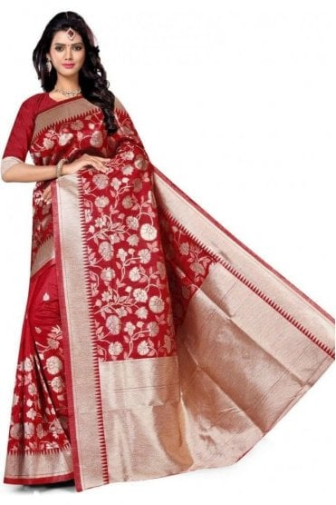 FAS20013 Red  and Gold Banarasi Silk Party Saree