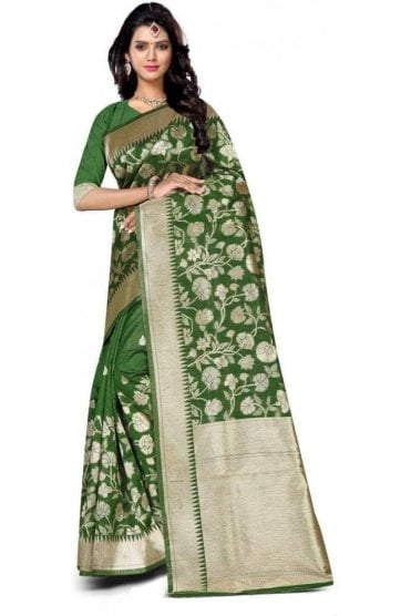 FAS20014 Green and Gold Banarasi Silk Party Saree