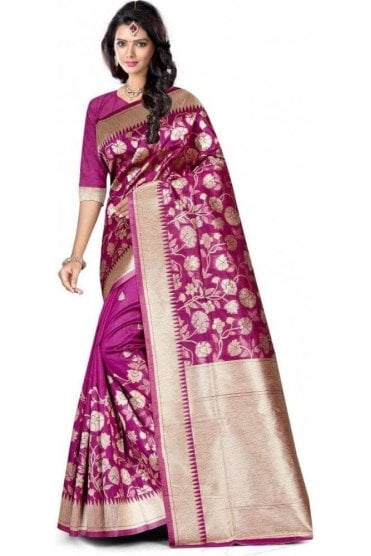 FAS20016 Magenta Pink and Gold Banarasi Silk Party Saree