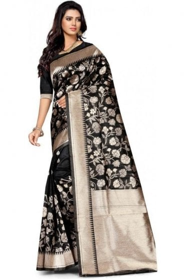 FAS20017 Black and Gold Banarasi Silk Party Saree