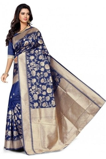 FAS20018 Blue and Gold Banarasi Silk Party Saree