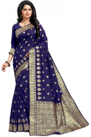 FAS20038 Navy Blue and Gold Banarasi Silk Party Saree