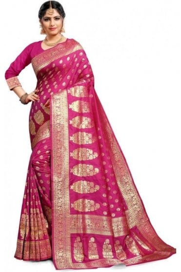 FAS20100 Magenta Pink and Gold Banarasi Silk Party Saree