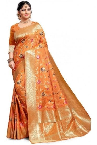 Contemporary Gold and Peach Banarasi Silk Saree