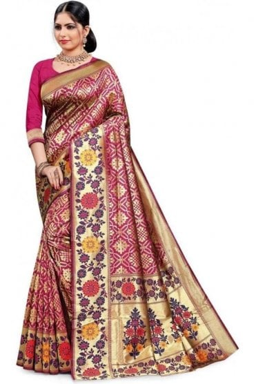 FAS20138 Magenta Pink and Gold Banarasi Silk Party Saree