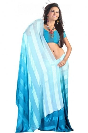 PPS20003 Turquoise Blue Satin Georgette Plain Shaded Party Saree