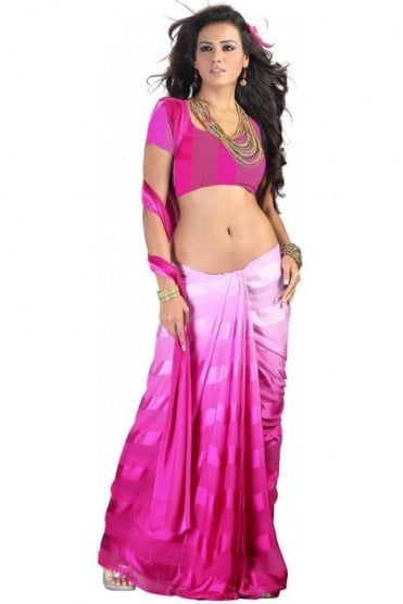 PPS20004 Pink Satin Georgette Plain Shaded Party Saree